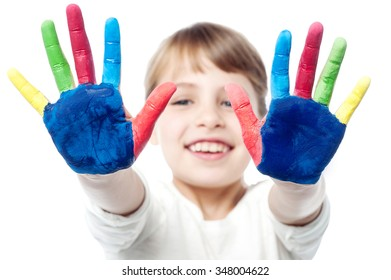 Smiling girl showing colorful palms