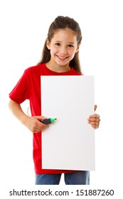 Smiling girl standing with empty vertical blank in hands, isolated on white