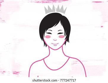 Smiling girl with tiara