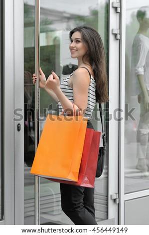 Smiling Girl Walks Into Glass Door Stock Photo Edit Now 456449149