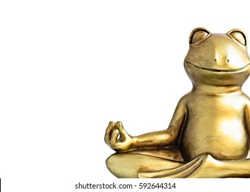 Smiling gold yoga frog meditating in lotus pose. Body, mind and soul balance, abundance, money concept. Isolated on white. Copy space