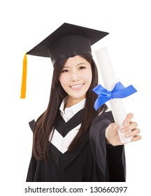 smiling Graduate woman Holding Degree Isolated On white Background