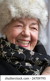 Smiling grandmother with fur