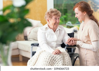 Smiling grandmother in a wheelchair and a friendly nurse talking and laughing