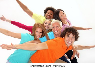 Smiling group of young friends having fun
