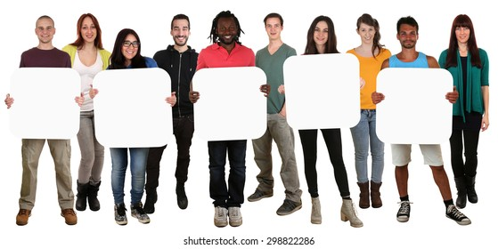 Smiling group of young multi ethnic people holding copyspace for five letter or text isolated on white