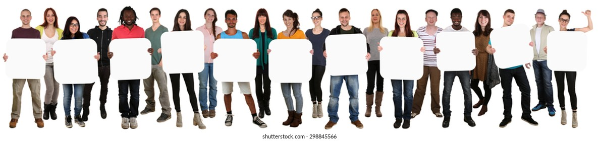 Smiling group of young multi ethnic people holding copyspace for eleven letter or text isolated on white
