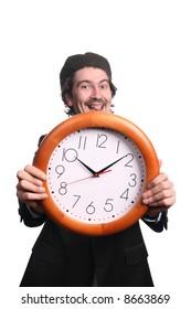 smiling grunge man with clock