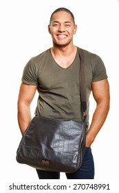 Smiling guy with bag on white background