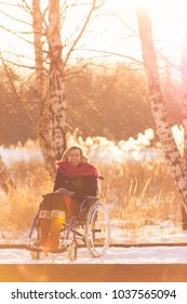 smiling handicapped woman on wheelchair resting outside in snowy park in winter