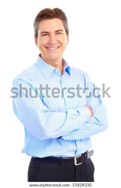 Lächelt gut aussehender Geschäftsmann. Einzeln auf weißem Hintergrund