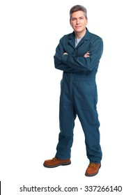 Smiling handsome plumber man. Isolated white background.