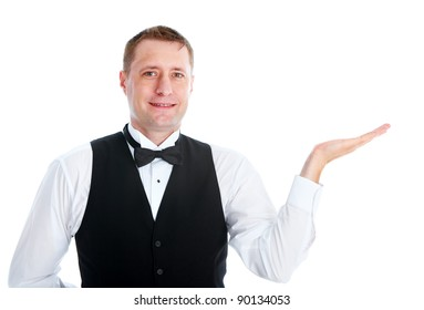 Smiling handsome waiter man. Isolated over white background.