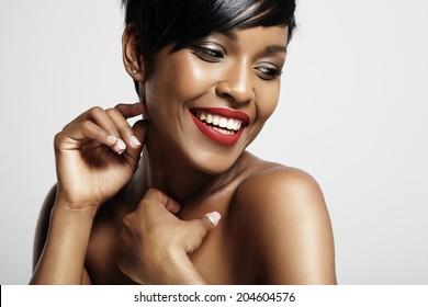 Smiling happy black woman