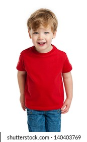 Smiling happy boy in red T-Shirt shot in the studio on a white background.