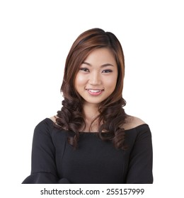 Smiling happy businesswoman portrait of multiracial Asian / Caucasian business woman isolated on white background.