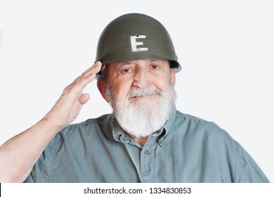smiling happy elderly soldier veteran saluting