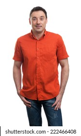 smiling happy handsome man in red shirt casuals isolated on white background