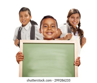 Smiling Happy Hispanic Boys and Girl Holding Blank Chalk Board Isolated on White.