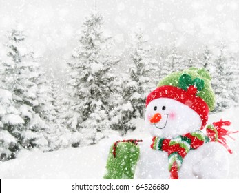 Smiling, happy snowman surrounded by winter landscape with falling snow