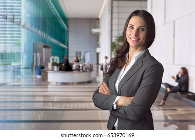 Smiling happy successful management at hotel business, bank or executive office space