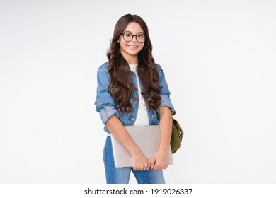 Smiling happy white schoolgirl with backpack isolated in white background