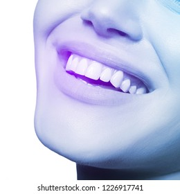 Smiling happy woman. Laughing female mouth with great teeth over white background. Healthy beautiful smile. Teeth health, whitening, prosthetics and care, image toned
