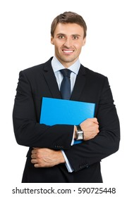 Smiling happy young businessman with blue folder, isolated on white background. Business success concept.