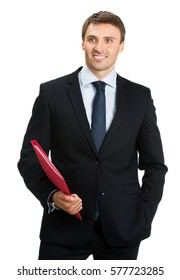 Smiling happy young businessman with red folder, isolated on white background. Business success concept.