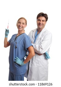 Smiling healthcare staff, male surgeon or doctor and female scrub nurse standing together.