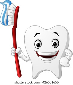 Smiling healthy white tooth cartoon character