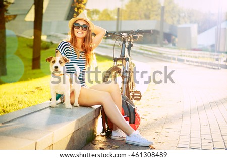 Smiling Hipster Girl with