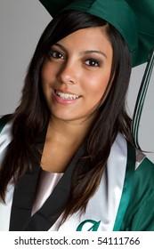 Smiling hispanic high school graduate