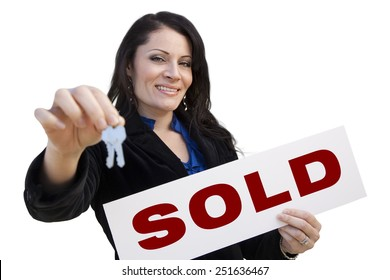 Smiling Hispanic Woman Holding Sold Real Estate Sign and Keys Isolated On White.