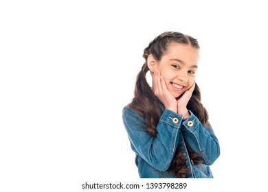 smiling kid in denim jacket posing isolated on white