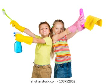 smiling kids with detergents on white background