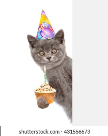 Smiling kitten with cake in birthday hat looking out because of the poster. isolated on white background