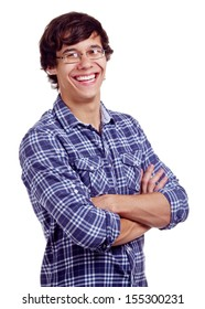 Smiling latin young man in glasses and crossed arms on his chest. Isolated on white background, mask included