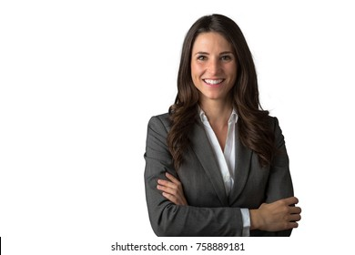 Smiling likable sincere and charming business woman portrait on a white background