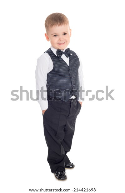 Smiling little boy in a business suit