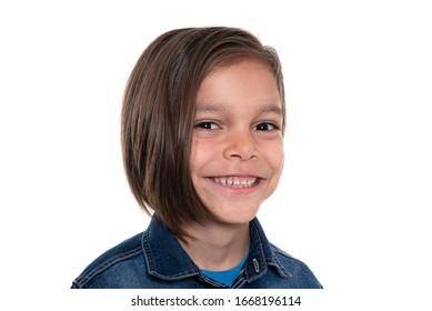 smiling little boy on white background