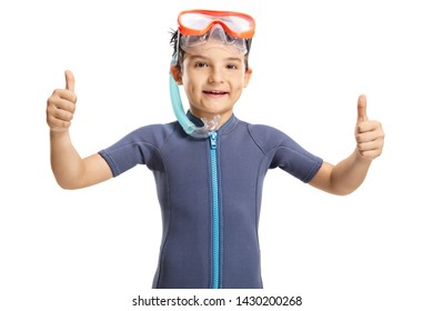 Smiling little boy with a snorkeling mask showing thumbs up isolated on white background
