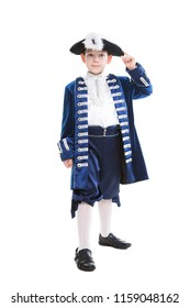 Smiling little boy wearing historical clothes. Isolated on white