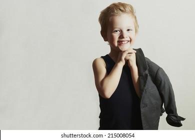 smiling little boy.stylish haircut. fashion children.funny child