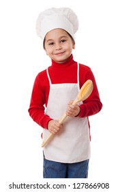 Smiling little cook with big ladle in hands, isolated on white