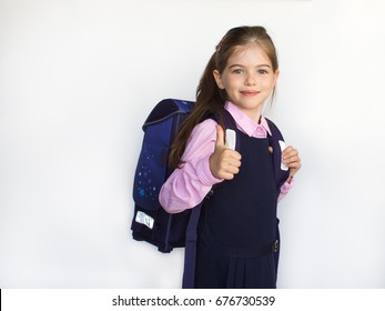 smiling little cute schoolgirl with school bag, backpack, isolated on white background, 1 september , back to school