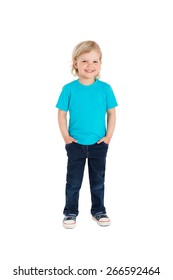 Smiling little girl in blue t-shirt isolated on a white background
