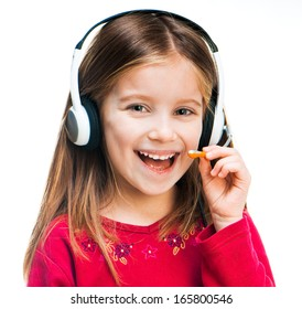 smiling little girl with Headset isolated on white background