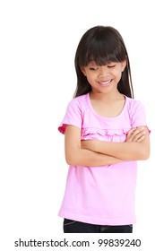 Smiling little girl looking down, Isolated on white