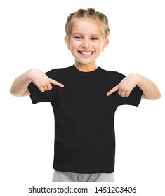 Smiling little girl on black t-shirt isolated on a white background
